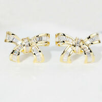 0.65 Ct Baguette Real Diamond 14K Yellow Gold Over Knot Ribbon Bow Stud Earrings