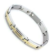 Bracelet Gourmette bijoux homme en acier inoxydable - ARGENT-DORE / idée cadeau