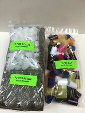 72 Bottles SWIRL 1/6 oz 5 ML Clear Glass Roll on W/MIX COLOR Cap & Roller