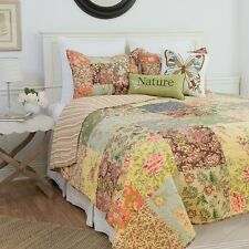 ROSALINDA Full Queen QUILT SET :CHIC VINTAGE COUNTRY GARDEN COTTAGE PATCH FLORAL