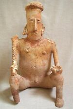 Pre-Columbian Jalisco Seated Male Figure Holding A Club, ca. 300 Bc - Ad 300