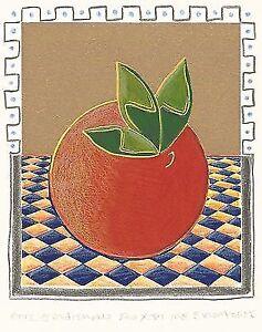 "Dimitris C. Milionis ""FRUIT"" Signed Hand Colored Screen Print Greek Artist 1995"