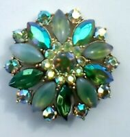 AURORA BOREALIS AB RHINESTONES BROOCH PIN,PRONG SET,JULIANA STYLE,UNSIGNED WEISS