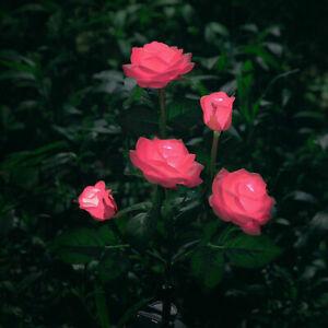 5Lighted Heads LED Solar Power Rose Flower Stake Lights Outdoor Garden Yard Lamp