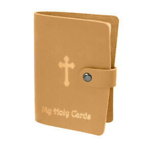 Beige Leatherette Holy Card Holder
