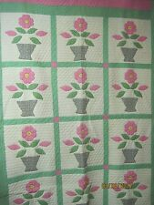 Vintage 1930's Tennessee Quilt pink & nile green Applique Flowers in Pot
