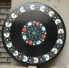 "black 24"" marble table top coffee dining inlay lapis malachite room decor"