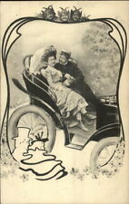 Romance Fany Couple in Back of Old Car - Kids as Imps Border c19095 Postcard