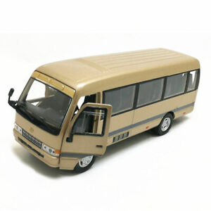 1/32 Scale Toyota Coaster Bus Model Car Alloy Diecast Gift Toy Vehicle Kid Beige