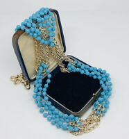 Vintage Necklace Signed Hong Kong Gold Tone Multi Strand Faux Turquoise Beads