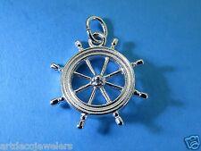 Vintage silver New England Sailing Nautical Boat Ship Wheel Dble Sided charm #F