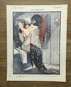 ORIGINAL La Vie Parisienne Illustration: Women, Nudes, Shawls, Hats (G.Pavis)