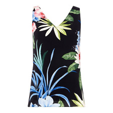 Black floral print V-neck camisole vest