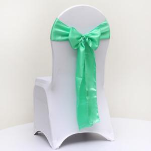 Mint green satin chair sash chair tie bow chair ribbons wedding birthday decor