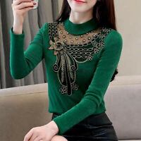 Spring Hot Women Lace Patchwork O Neck Slim Fit Shirt Party Club Top Blouse 4XL