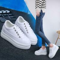 Women White Shoes High Hidden Heel Platform Creepers Casual Sneakers Breathable
