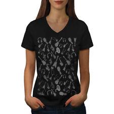 Wellcoda Instrument Bass Music Womens V-Neck T-shirt, Audio Graphic Design Tee