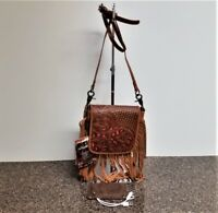 Montana West 100% Leather Crossbody Bag Western Country Tooled Fringe Purse