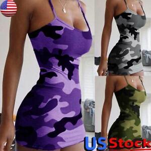 Women Spaghetti Strap Bodycon Mini Dress Sexy Party Club Wear Sleeveless Dresses