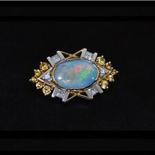 Brand New 18ct yellow & white gold opal diamonds sapphires pearls brooch choker