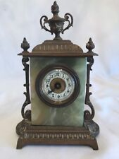 """Antique Marble And Bronze French Clock 8"""" Tall"""