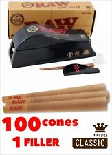 RAW Classic King Size PreRolled Cone(100 Pack)+raw Cone King Size Filler shooter