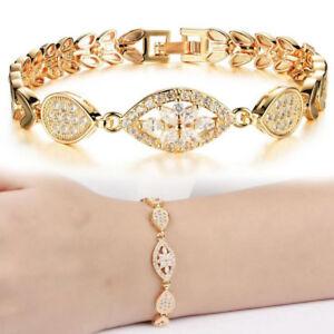 Womens Lady 18K Gold Plated Crystal Flower Bracelet Bangle Wristband Cuff Chain