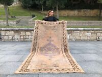 TRIBAL VINTAGE OUSHAK TURKISH NEUTRAL RUG HANDMADE DECORATIVE DESIGN AREA RUG