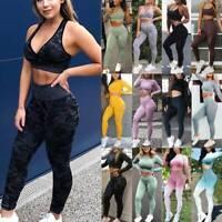Womens Seamless Yoga Suit Top Bra &Pants Leggings Sports Fitness Gym Stretch Set