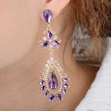Gold Earrings With Purple & Silver Crystals