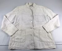 Matchpoint USA Linen Lagenlook Tunic Top Pockets Beige Off White Button Small S