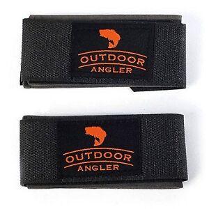 Outdoor Angler Nylon Fishing Rod Strap Prevents Shifting Black/Orange 2 Pack
