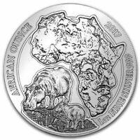 2017 Rwanda 50 Francs 1 oz Silver African Wildlife Series Hippo (BU)