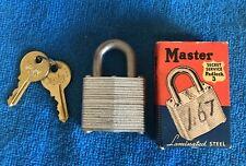 GREAT Original MASTER Padlack Secret Service 3 w/ Keys and Original Box~~MINT~~