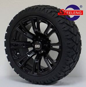 """GOLF CART 14"""" BLACK VOODOO WHEELS and 20"""" STINGER ALL TERRAIN TIRES DOT RATED"""