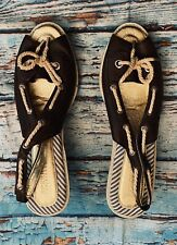 Sperry Topsider Leather Sandal Wedge Slingback 10 Brown Lace Summer Boat Shoes