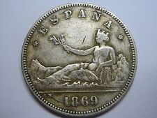 1869 * 68 RARA 2 PESETAS PRIMERA REPUBLICA SPAIN SPANISH SILVER