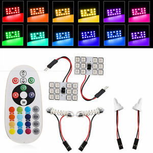 Two-piece T10 5050SMD 12LED RGB car interior dome reading light