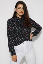 Missi London Floral Bow Tie Top Shirt Size 8 - 14 New Free Post