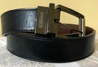 CONCEPTS by CLAIBORNE Black Brown Faux Leather Men's Reversible Belt Sz 42