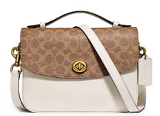 🌺🌹Coach Cassie Leather & Signature Coated Canvas Crossbody Beige/Brass 74091