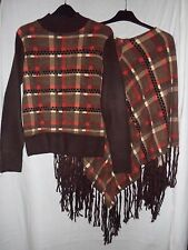 BNWOT Brown Check/Tasselled Cape / Poncho and Matching Jumper Size Medium