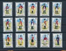LM75909 St Lucia soldier uniforms military fine lot MNH