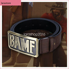 OW Overwatch McCree BAMF Cosplay Leather Belt With Buckle