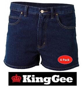 KING GEE  -  PACK OF 4 - MENS STONEWASH DENIM SHORT LEG WORK JEAN SHORTS -K07640