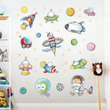 Dibujos animados astronauta espacio exterior planeta arte Wall Sticker DIY GN
