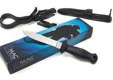 Coltello da sub apnea per subacqueo Mac 11 lama liscia e seghettata fodero ABS