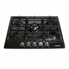 68cm Stainless Steel 5 Burner Gas Cooktop Hob Wok Nat Gas & LPG Black