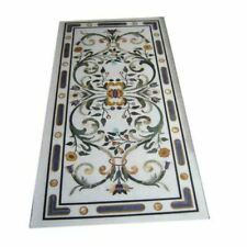 5'x2.5' White Marble Table Top Dining Center Room Decor Inlay Malachite S13