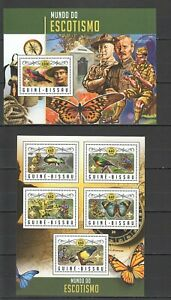 ST826 2016 GUINEA-BISSAU SCOUTING BIRDS BUTTERFLIES 1KB+1BL MNH STAMPS
